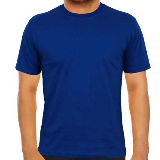 Bisiklet Yaka Saks Mavi Tişört